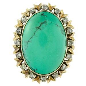 Turquoise & 0.40 Carat Diamond Vintage Ring 18K
